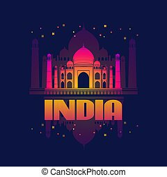 India.  Agra. Taj Mahal Card. Vector illustration.