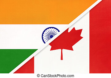 India and Canada, symbol of national flags from textile.