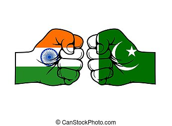 India and Pakistan countries confrontation vector concept. Political, military or religious conflict, trade war and territorial dispute. Two fists one opposite other with Indian and Pakistani flags
