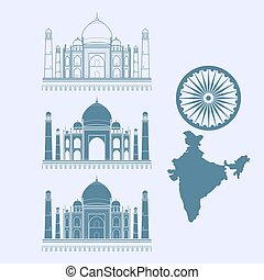 Isolated icon Taj Mahal and map of India. Vector illustration.