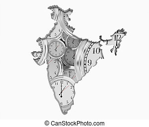 India Asia Indian Clock Time Passing Forward Future 3d Illustration