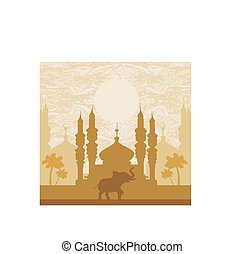 India background, elephant, building and palm trees