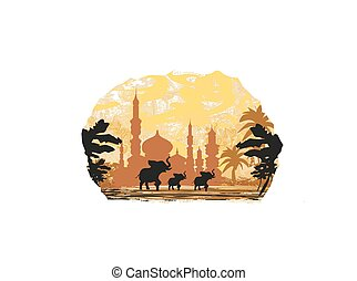 India background,elephant , building and palm trees