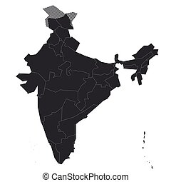 India - blank political map of administrative divisions