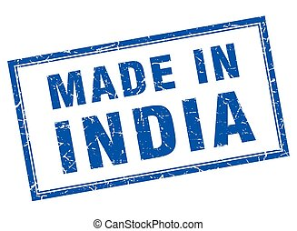India blue square grunge made in stamp