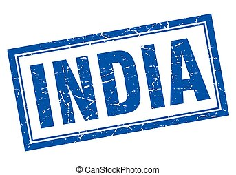 India blue square grunge stamp on white