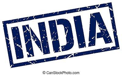 India blue square stamp