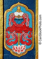 india, budista, detalle, monasterio