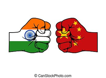 India China confrontation flags fists, conflict - India and ...