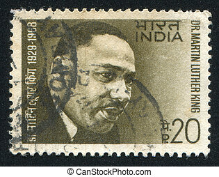 Martin Luther King - INDIA - CIRCA 1969: stamp printed by...