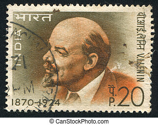 Lenin - INDIA - CIRCA 1970: stamp printed by India, shows ...