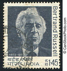 Bertrand Russell - INDIA - CIRCA 1972: stamp printed by...