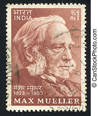 INDIA - CIRCA 1974: stamp printed by India, shows Max Mueller, circa 1974