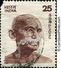 Mohandas Karamchand Gandhi - INDIA - CIRCA 1976: Mohandas...