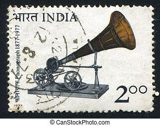 INDIA - CIRCA 1977: stamp printed by India, shows Berliner Gramaphone, circa 1977