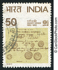 Money Order Centenary - INDIA - CIRCA 1980: stamp printed by...