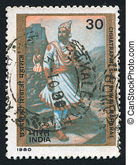 Raigad Fort - INDIA - CIRCA 1980: stamp printed by India,...