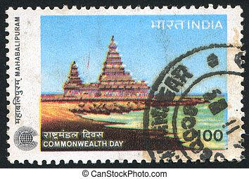 INDIA - CIRCA 1983: stamp printed by India, shows Shore Temple, Mahabalipuram, circa 1983