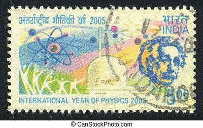 INDIA - CIRCA 2005: stamp printed by India, shows Albert Einstein, Atom sign, human figures, equation, circa 2005