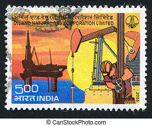 oil platform - INDIA - CIRCA 2006: stamp printed by India,...