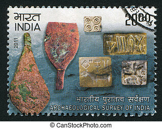 INDIA - CIRCA 2011: stamp printed by India, shows artefacts, circa 2011