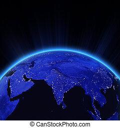 india, ciudad enciende, por la noche