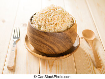 India cooked organic basmati brown rice in wooden bowl on ...