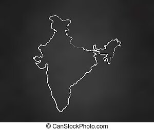 India Country Map Chalk Outline. Vector Illustration