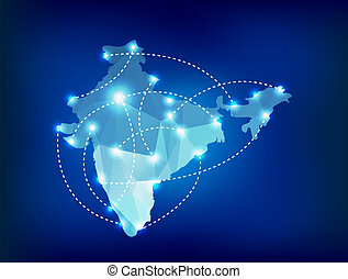 India country map polygonal