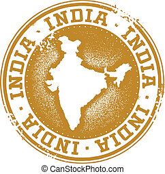 India Country Stamp - Vintage style distressed India stamp.