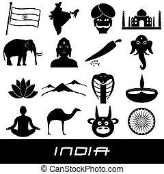 india country theme symbols stickers set eps10