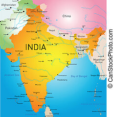 India country - Vector detailed map of India country
