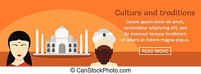 India culture and traditions banner horizontal concept