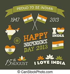 india, dag, verzameling, onafhankelijkheid