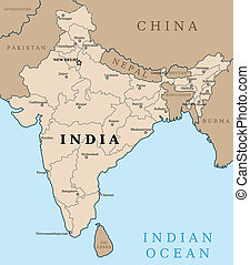 India - Map of India. Outline illustration country map with...