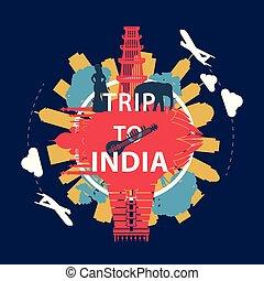 India famous landmark silhouette overlay style around text, vintage design