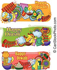 India festival of Lights Happy Diwali doddle background -...