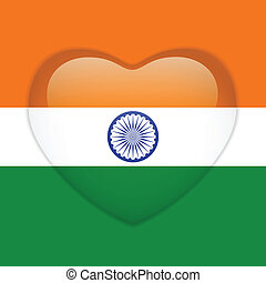 India Flag Heart Glossy Button