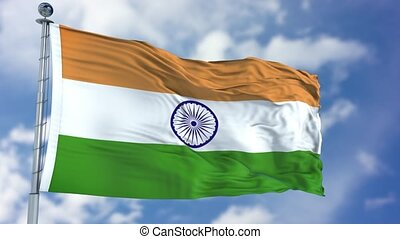 India Flag in a Blue Sky