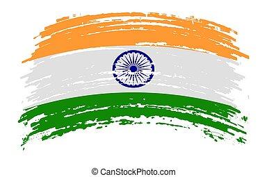 India flag in grunge brush stroke, vector