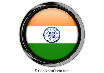 India flag in the button pin Isolated on White Background