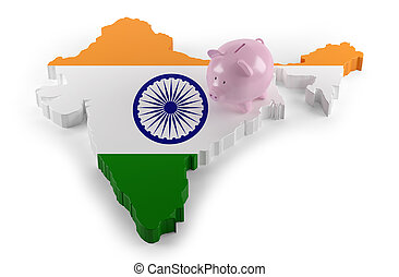 India Flag Map on Piggy Bank