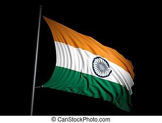India flag on black background