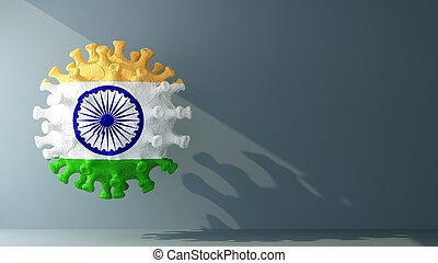 India flag on covid-19 virus with copy space