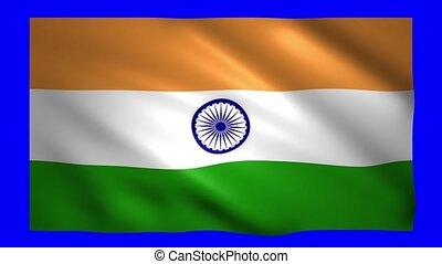 India flag on green screen for chroma key