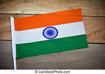 India flag on old wooden background