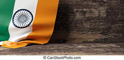 India flag on wooden background. 3d illustration