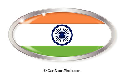 India Flag Oval Button