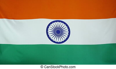 India Flag real fabric close up - Textile flag of India with...