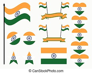 India flag set. Collection of symbols, flag in heart. Vector illustration